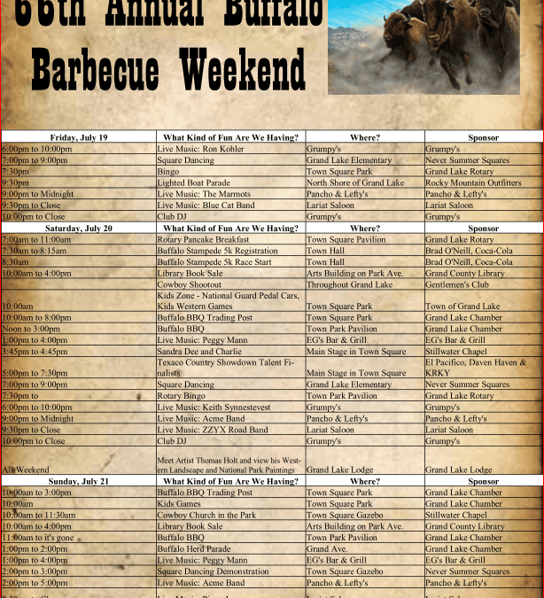 66th Annual Buffalo Barbecue Weekend, Peggy Mann Live, Peter Pan at Rocky Mountain Repertory Theatre, Moose on the Loose Program at Juniper Library & More!