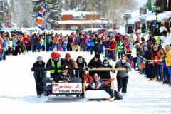 Bed Sled Races at Annual Winter Carnival
