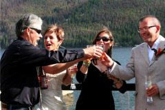 A toast on the deck at Western Riviera Lakeside Venue